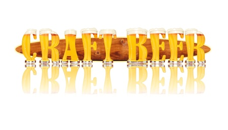 Very detailed illustration of the words CRAFT BEER designed from a Beer Alphabet capital or uppercase font on white background showing filled crystal glasses with letter shape and some foam  Letters as single purchase available