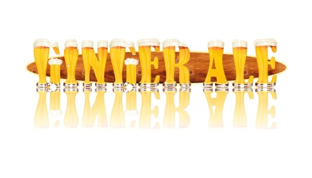 Very detailed illustration of the words GINGER ALE designed from a Beer Alphabet capital or uppercase font on white background showing filled crystal glasses with letter shape and some foam  Letters as single purchase available