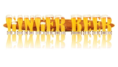 Very detailed illustration of the words GINGER BEER designed from a Beer Alphabet capital or uppercase font on white background showing filled crystal glasses with letter shape and some foam  Letters as single purchase available