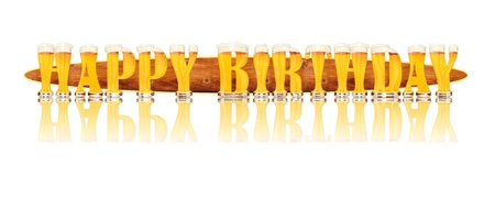 Very detailed illustration of the words HAPPY BIRTHDAY designed from a Beer Alphabet capital or uppercase font on white background showing filled crystal glasses with letter shape and some foam  Letters as single purchase available  Standard-Bild
