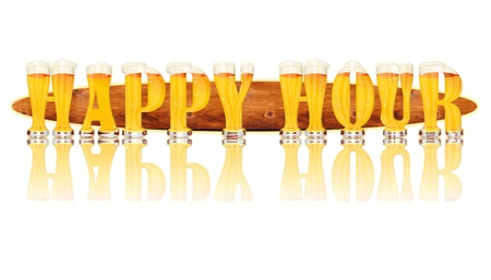 hour glasses: Very detailed illustration of the words HAPPY HOUR designed from a Beer Alphabet capital or uppercase font on white background showing filled crystal glasses with letter shape and some foam  Letters as single purchase available