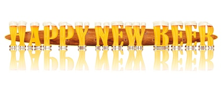 Very detailed illustration of the words HAPPY NEW BEER designed from a Beer Alphabet capital or uppercase font on white background showing filled crystal glasses with letter shape and some foam  Letters as single purchase available