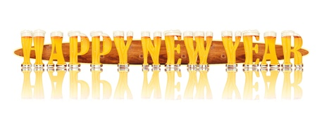 Very detailed illustration of the words HAPPY NEW YEAR designed from a Beer Alphabet capital or uppercase font on white background showing filled crystal glasses with letter shape and some foam  Letters as single purchase available