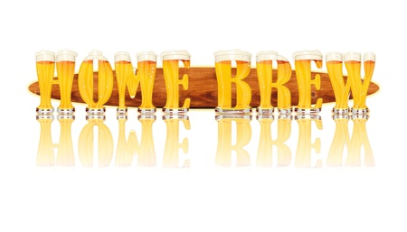 Very detailed illustration of the words HOME BREW designed from a Beer Alphabet capital or uppercase font on white background showing filled crystal glasses with letter shape and some foam  Letters as single purchase available