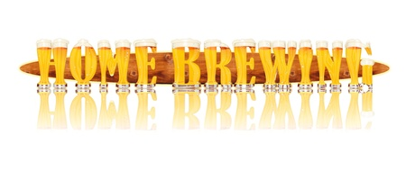 Very detailed illustration of the words HOMEBREWING designed from a Beer Alphabet capital or uppercase font on white background showing filled crystal glasses with letter shape and some foam  Letters as single purchase available