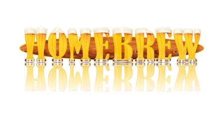 Very detailed illustration of the word HOMEBREW designed from a Beer Alphabet capital or uppercase font on white background showing filled crystal glasses with letter shape and some foam  Letters as single purchase available  Zdjęcie Seryjne