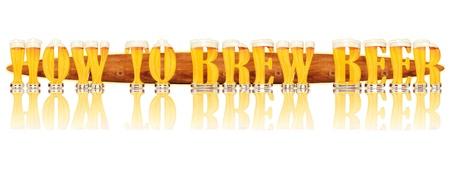 brew beer: Ejemplo muy detallado de las palabras C�MO elaborar cerveza dise�ada desde un capital alfabeto cerveza o fuente may�scula sobre fondo blanco que muestra vasos de cristal llenos de forma de letra y algunas cartas de la espuma como sola compra disponibles