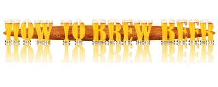 Very detailed illustration of the words HOW TO BREW BEER designed from a Beer Alphabet capital or uppercase font on white background showing filled crystal glasses with letter shape and some foam  Letters as single purchase available