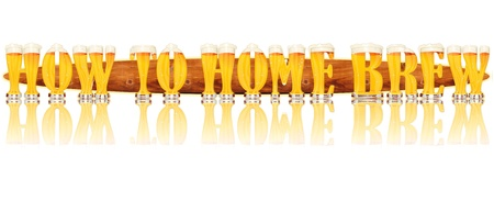 Very detailed illustration of the words HOW TO MAKE BEER designed from a Beer Alphabet capital or uppercase font on white background showing filled crystal glasses with letter shape and some foam  Letters as single purchase available