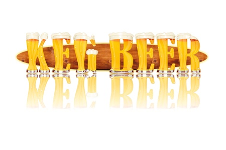 Very detailed illustration of the words KEG BEER designed from a Beer Alphabet capital or uppercase font on white background showing filled crystal glasses with letter shape and some foam  Letters as single purchase available