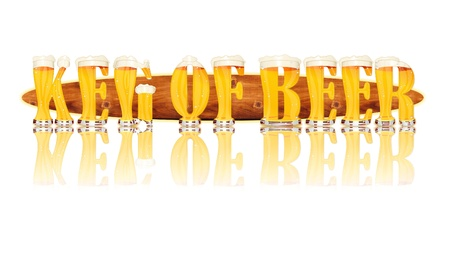Very detailed illustration of the words KEG OF BEER designed from a Beer Alphabet capital or uppercase font on white background showing filled crystal glasses with letter shape and some foam  Letters as single purchase available  Zdjęcie Seryjne
