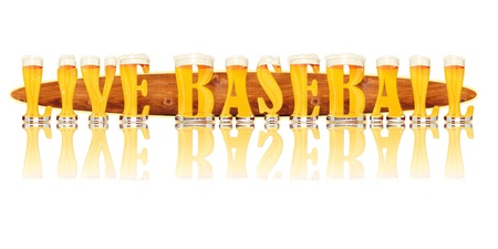Very detailed illustration of the words LIVE BASEBALL designed from a Beer Alphabet capital or uppercase font on white background showing filled crystal glasses with letter shape and some foam  Letters as single purchase available  Zdjęcie Seryjne