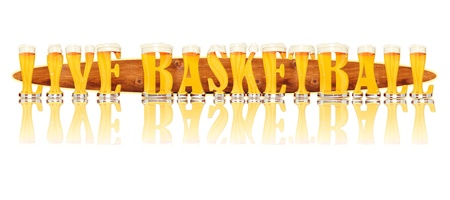 Very detailed illustration of the words LIVE BASKETBALL designed from a Beer Alphabet capital or uppercase font on white background showing filled crystal glasses with letter shape and some foam  Letters as single purchase available  Zdjęcie Seryjne