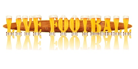 Very detailed illustration of the words LIVE FOOTBALL designed from a Beer Alphabet capital or uppercase font on white background showing filled crystal glasses with letter shape and some foam  Letters as single purchase available  Zdjęcie Seryjne