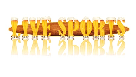 Very detailed illustration of the words LIVE SPORTS designed from a Beer Alphabet capital or uppercase font on white background showing filled crystal glasses with letter shape and some foam  Letters as single purchase available