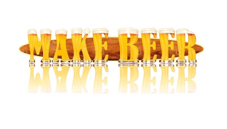 Very detailed illustration of the words MAKE BEER designed from a Beer Alphabet capital or uppercase font on white background showing filled crystal glasses with letter shape and some foam  Letters as single purchase available