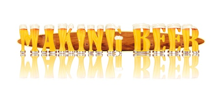Very detailed illustration of the words MAKING BEER designed from a Beer Alphabet capital or uppercase font on white background showing filled crystal glasses with letter shape and some foam  Letters as single purchase available  Zdjęcie Seryjne