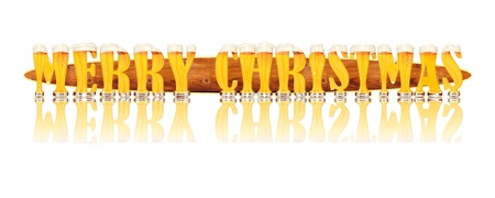 Very detailed illustration of the words MERRY CHRISTMAS designed from a Beer Alphabet capital or uppercase font on white background showing filled crystal glasses with letter shape and some foam  Letters as single purchase available