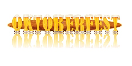 Very detailed illustration of the word OKTOBERFEST designed from a Beer Alphabet capital or uppercase font on white background showing filled crystal glasses with letter shape and some foam  Letters as single purchase available  Zdjęcie Seryjne