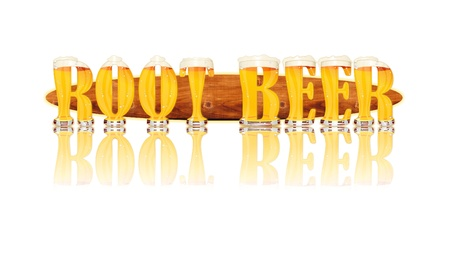Very detailed illustration of the words ROOT BEER designed from a Beer Alphabet capital or uppercase font on white background showing filled crystal glasses with letter shape and some foam  Letters as single purchase available  Zdjęcie Seryjne