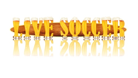 Very detailed illustration of the words LIVE SOCCER designed from a Beer Alphabet capital or uppercase font on white background showing filled crystal glasses with letter shape and some foam  Letters as single purchase available