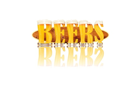 Very detailed illustration of the words BEERS designed from a Beer Alphabet capital or uppercase font on white background showing filled crystal glasses with letter shape and some foam  Letters as single purchase available  Zdjęcie Seryjne