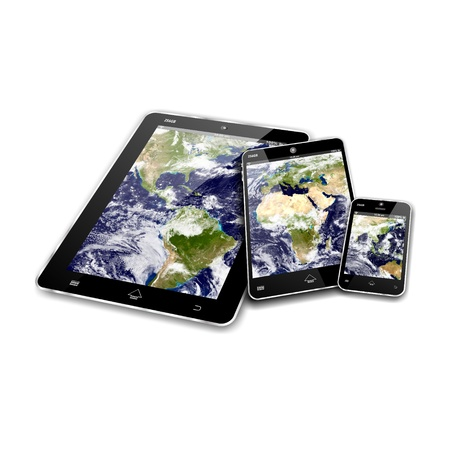 MOBILE DEVICES, tablet pc, mini tablet and smartphone, WORLD map as responsive web design  IMAGES COURTESY OF NASA
