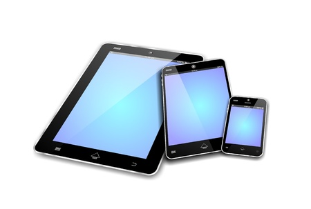 MOBILE DEVICES like tablet pc, mini tablet or note and smartphone or cellphone with blue empty screens