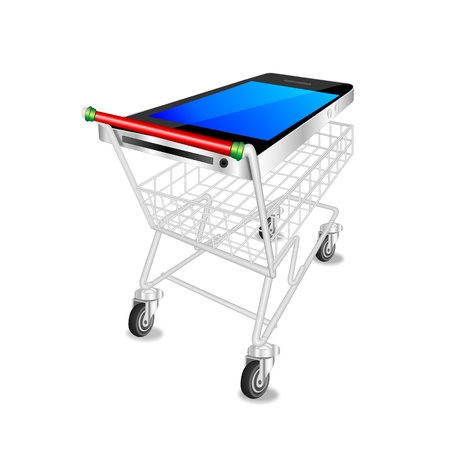 mobile shopping icon, abstract illustration with smartphone or cellphone as shopping trolley or cart