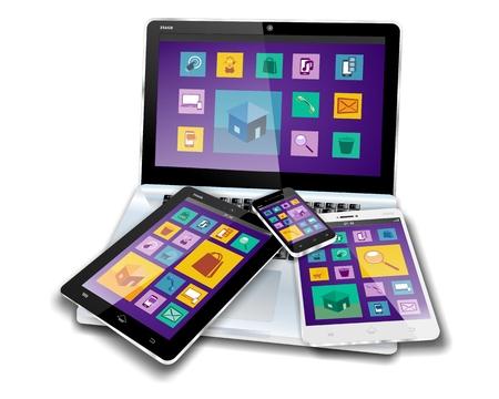 Mobiele apparaten met platte ontwerp of metro ontwerp scherm inhoud op laptop, tablet pc, mini tablet of notitieblok en smartphone of mobiele telefoon