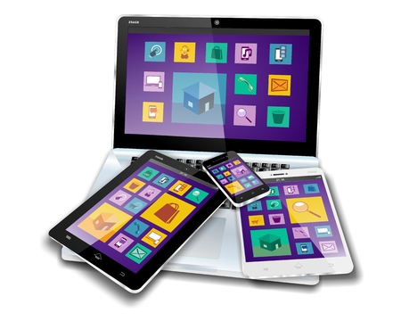 MOBILE DEVICES with flat design or metro design screen content on laptop, tablet pc, mini tablet or note pad and smartphone or cellphone Stock Photo