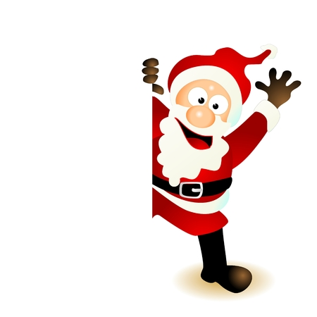 santa claus cartoon character jumping out from behind of a blank, empty space like a board, card or sign holding the edge  smiling and friendly greeting as well as waving or laughing