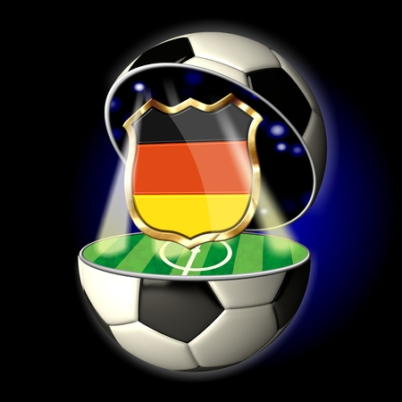Soccer or Football Universe - 2014  Very detailed illustration of a open ball or sphere as a soccer ball  Spotlights highlighting crest of country Germany on soccer field in abstract stadion  Standard-Bild