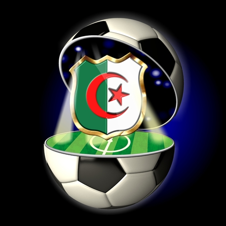 Soccer or Football Universe - 2014  Very detailed illustration of a open ball or sphere as a soccer ball  Spotlights highlighting crest of country Algeria on soccer field in abstract stadion