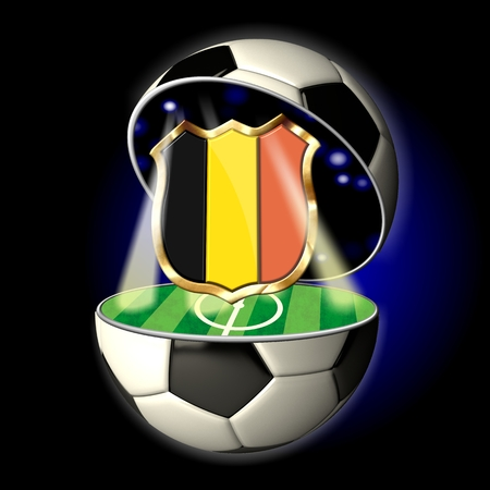 Soccer or Football Universe - 2014  Very detailed illustration of a open ball or sphere as a soccer ball  Spotlights highlighting crest of country Belgium on soccer field in abstract stadion
