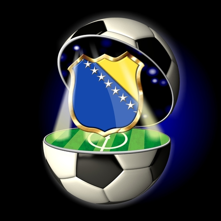 Soccer or Football Universe - 2014  Very detailed illustration of a open ball or sphere as a soccer ball  Spotlights highlighting crest of country Bosnia and Herzegovina on soccer field in abstract stadion  illustration