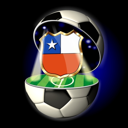Soccer or Football Universe - 2014  Very detailed illustration of a open ball or sphere as a soccer ball  Spotlights highlighting crest of country Chile on soccer field in abstract stadion