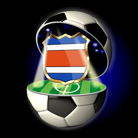 Soccer or Football Universe - 2014  Very detailed illustration of a open ball or sphere as a soccer ball  Spotlights highlighting crest of country Costa Rica on soccer field in abstract stadion