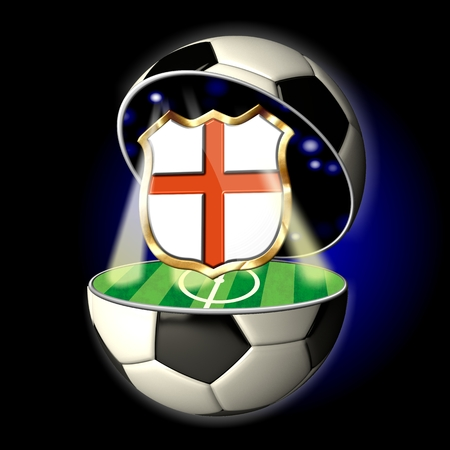 Soccer or Football Universe - 2014  Very detailed illustration of a open ball or sphere as a soccer ball  Spotlights highlighting crest of country England on soccer field in abstract stadion
