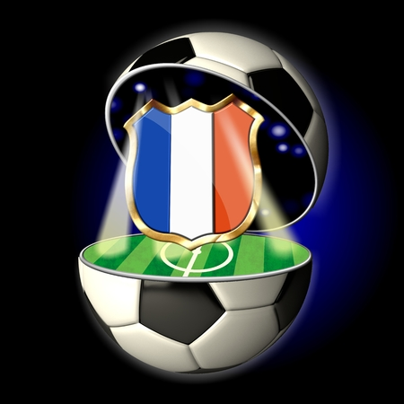 Soccer or Football Universe - 2014  Very detailed illustration of a open ball or sphere as a soccer ball  Spotlights highlighting crest of country France on soccer field in abstract stadion