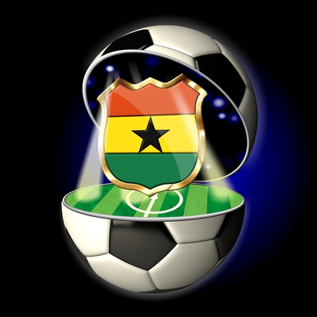 Soccer or Football Universe - 2014  Very detailed illustration of a open ball or sphere as a soccer ball  Spotlights highlighting crest of country Ghana on soccer field in abstract stadion  illustration
