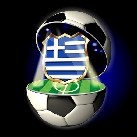Soccer or Football Universe - 2014  Very detailed illustration of a open ball or sphere as a soccer ball  Spotlights highlighting crest of country Greece on soccer field in abstract stadion