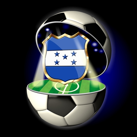 Soccer or Football Universe - 2014  Very detailed illustration of a open ball or sphere as a soccer ball  Spotlights highlighting crest of country Honduras on soccer field in abstract stadion  Zdjęcie Seryjne