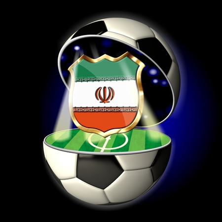 soccer wm: Soccer or Football Universe - 2014  Very detailed illustration of a open ball or sphere as a soccer ball  Spotlights highlighting crest of country Iran on soccer field in abstract stadion