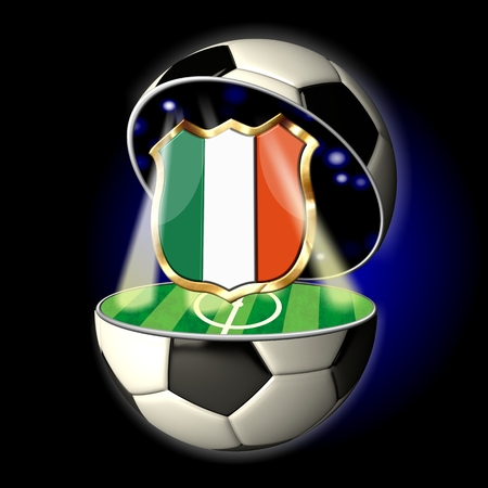 Soccer or Football Universe - 2014  Very detailed illustration of a open ball or sphere as a soccer ball  Spotlights highlighting crest of country Italy on soccer field in abstract stadion  Zdjęcie Seryjne