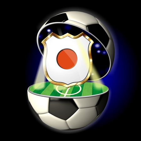 Soccer or Football Universe - 2014  Very detailed illustration of a open ball or sphere as a soccer ball  Spotlights highlighting crest of country Japan on soccer field in abstract stadion