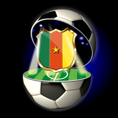 Soccer or Football Universe - 2014  Very detailed illustration of a open ball or sphere as a soccer ball  Spotlights highlighting crest of country Cameroon on soccer field in abstract stadion  illustration