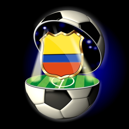 soccer wm: Soccer or Football Universe - 2014  Very detailed illustration of a open ball or sphere as a soccer ball  Spotlights highlighting crest of country Colombia on soccer field in abstract stadion  Stock Photo