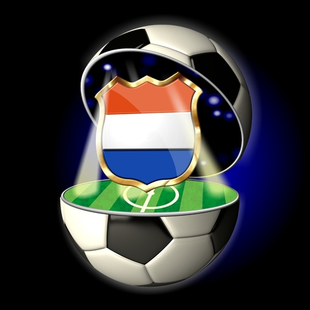 Soccer or Football Universe - 2014  Very detailed illustration of a open ball or sphere as a soccer ball  Spotlights highlighting crest of country Netherlands on soccer field in abstract stadion