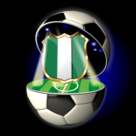 country nigeria: Soccer or Football Universe - 2014  Very detailed illustration of a open ball or sphere as a soccer ball  Spotlights highlighting crest of country Nigeria on soccer field in abstract stadion